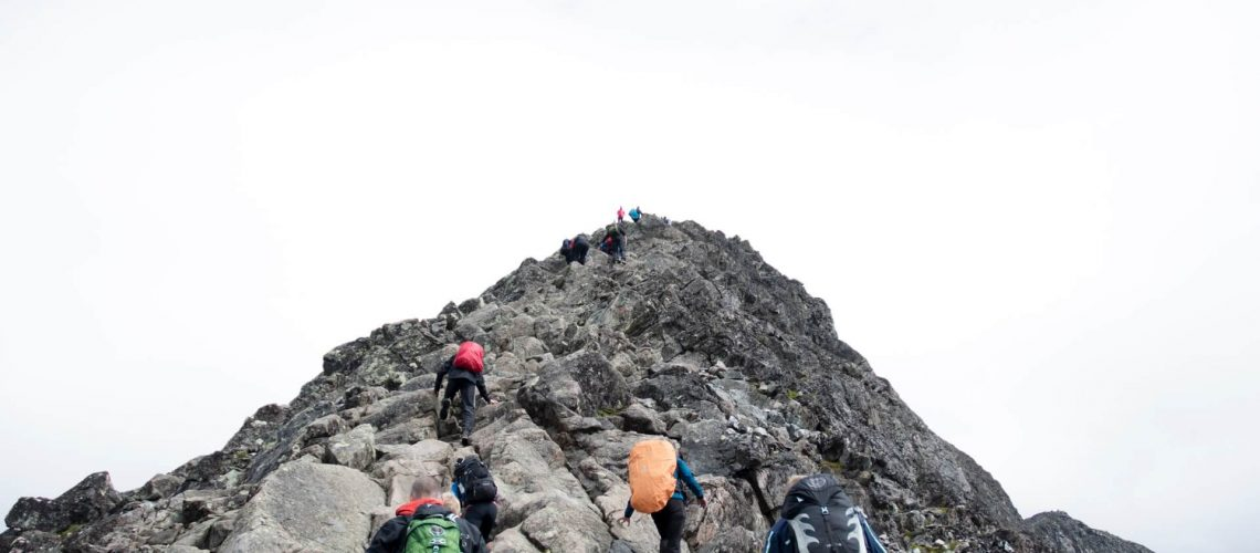 People climbing on a mountain